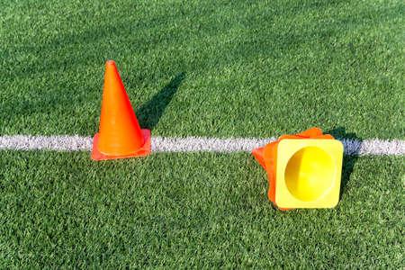 soccer field: funnels on on soccer field Stock Photo