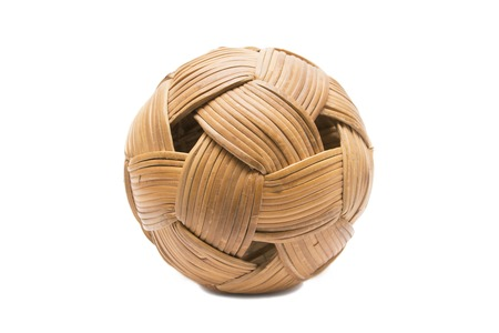 weave ball: Rattan ball on white background