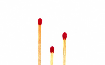 mesure: Three of matches show of short long style isolated on white background
