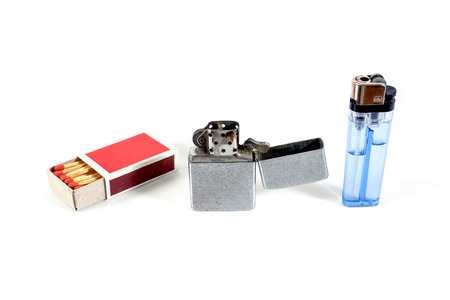 gas lighter: Illustration evolution concept of fire from matches to lighter isolated on white background