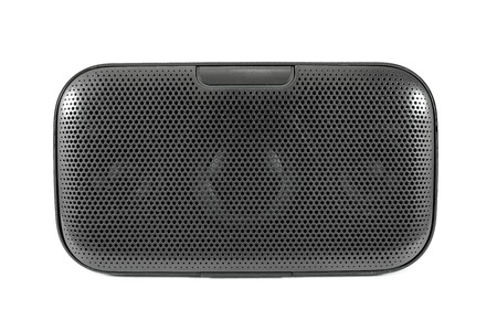 stereo cut: Front of black bluetooth speaker isolated on white background