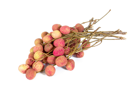 litchee: Bunch of fresh lychees isolated on white background Stock Photo