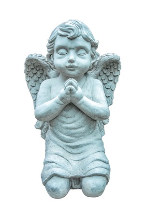 children face: Beautiful statue of the angel praying isolated on white background.Angel sculpture