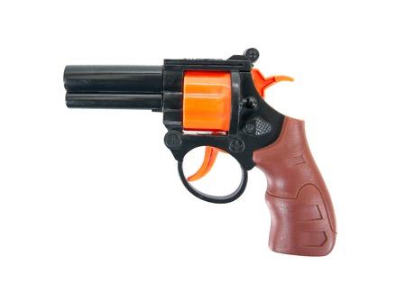 Plastic toy gun isolated on a white background.Toy gun
