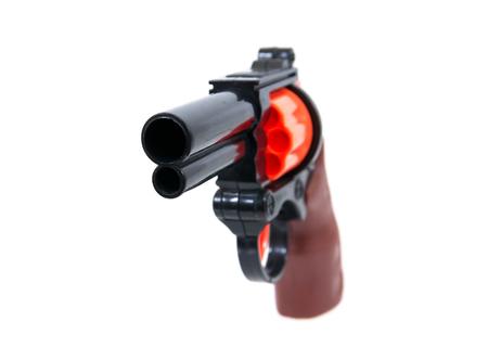 Toy hand gun isolated on white background.Toy gun.Plastic toy gun