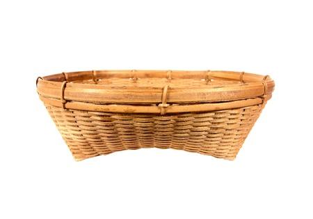 Beautiful weave bamboo basket isolated on white background