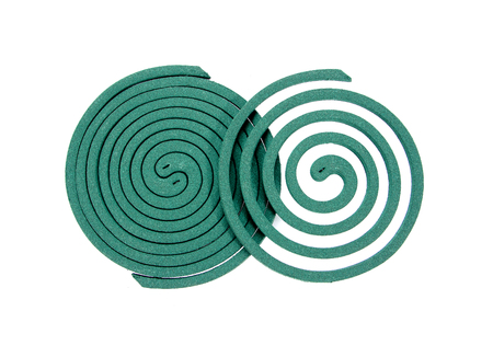 deterent: Mosquito repellents coil isolated on white background.Mosquito coil