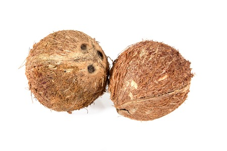 Dry Coconut for produce coconut milk isolated on white background.Dried coconut