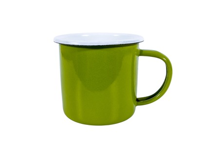 unbreakable: Green vintage metal mug isolated on white background