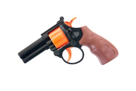 Plastic pistol toy isolated on white background.Kids revolver toy.Toy gun.Toy hand gun Stock Photo