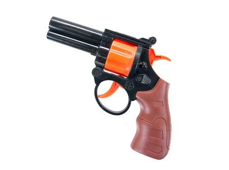Plastic toy hand gun isolated on white background.Toy gun.Toy hand gun