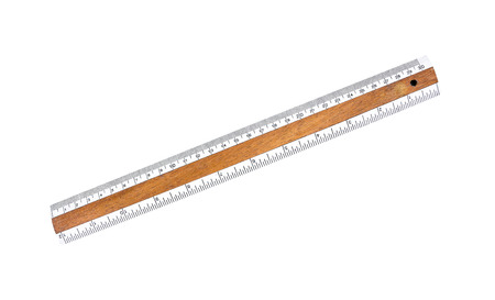 Old wooden ruler with white plastic tape isolated on white background