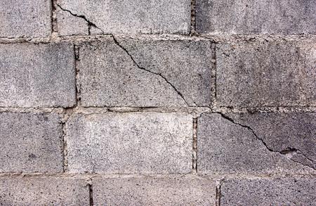 cinder: Crack in concrete cinder block wall background.Cement cinder block cracked wall