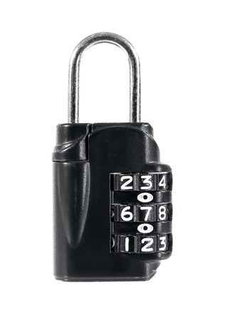dial pad: Closeup of black combination padlock isolated on white background.Black padlock Stock Photo