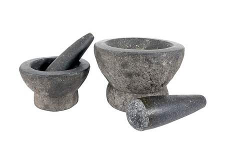 morter: Mortar and pestle isolated on white background.Rock mortar.Stone mortar