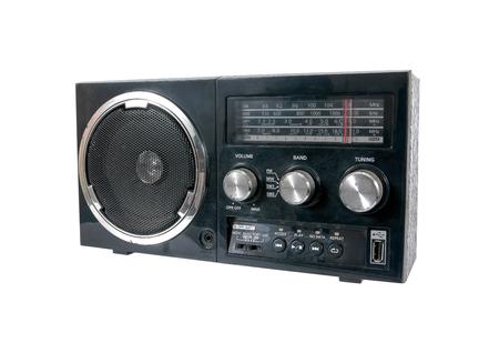 Noir vieille radio isolé sur fond blanc Banque d'images
