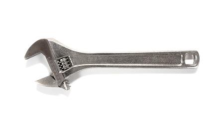 Adjustable wrench opened jaws isolated on white background