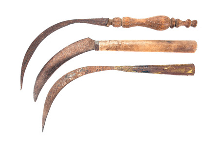 sickle: Three of old rusty sickle isolated on white background.Old sickle style.Thailand old sickle