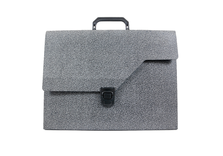 bussiness man: Black plastic briefcase isolated on white background Stock Photo