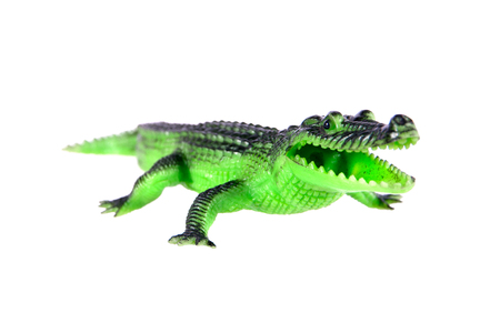 Crocodile toy isolated on white background.Plastic crocodile toy isolated Stock Photo