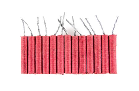 Row of firecrackers isolated on white background.Firecrackers isolated Stock Photo