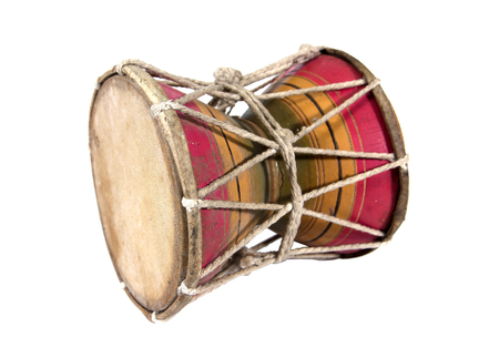 thai musical instrument: Wooden Thailand style small drum isolated on white background.Small drum isolated