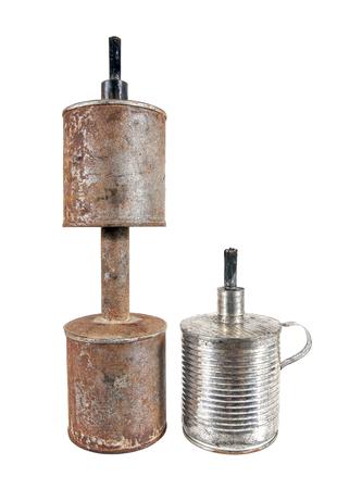 Two kind of old kerosene lamp isolated on white background.Kerosene lamp.Thailand Stock Photo