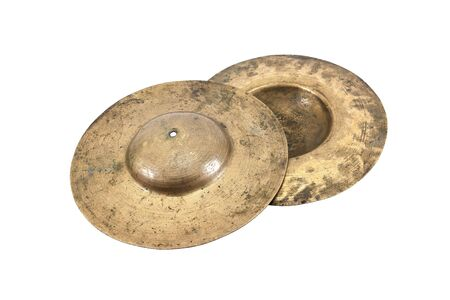 Cymbals: Two cymbals isolated on white background.Old cymbals isolated