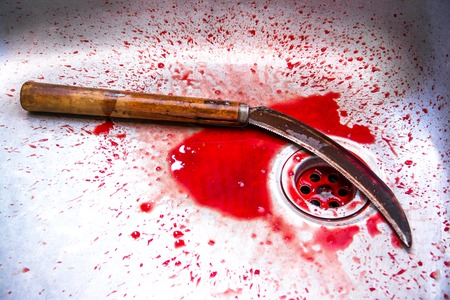 kill: Sickle with blood at sink background,Kill concept,Murder concept Stock Photo