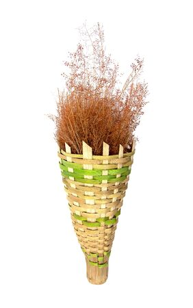 dry flowers: Decorative bamboo torch style with dry flowers grass inside isolated on white background.Bamboo torch isolated Stock Photo