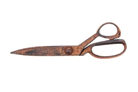 shears: Old tailor scissors isolated on white background Stock Photo