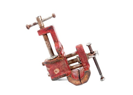 Old mechanical hand vise clamp isolated on white background.Vise isolated Reklamní fotografie