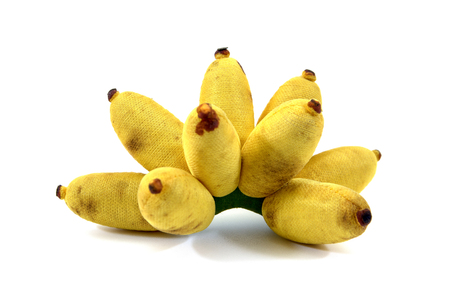 Artificial bunch of bananas made from fabric isolated on white background