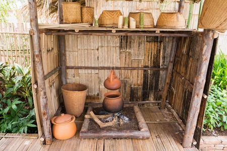 log basket: Old style of hill tribe fireplace kitchen with kitchenware Stock Photo