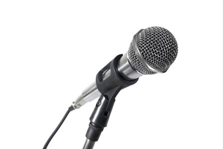 Silver microphone isolated on white background.Microphone isolated Stock Photo
