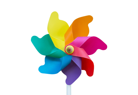 Colorful pinwheel toy isolated on white background.Wind turbine isolated.Wind mill isolated