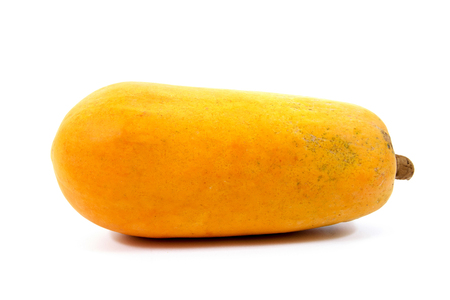 cutaneous: Papaya fruit isolated on a white background.Papaya isolated.Ripe papaya isolated.Yellow papaya isolated.Fresh papaya isolated.