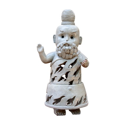 recluse: Hermit statue isolated on white background.Hermit sculpture isolated.Young hermit statue.