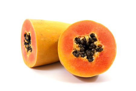 cutaneous: Papaya isolated on white background.Ripe papaya isolated.Yellow papaya isolated.Fresh papaya isolated.Papaya with seeds isolated