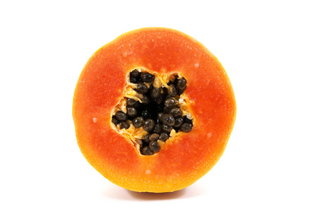 cutaneous: Fresh papaya isolated on white background.Ripe papaya isolated.Yellow papaya isolated.Ripe papaya sliced isolated.Papaya with seeds isolated