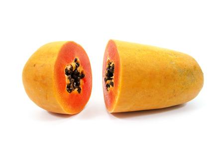 cutaneous: Papaya isolated on white background.Ripe papaya isolated.Yellow papaya isolated.Fresh papaya isolated.Papaya with seeds isolated