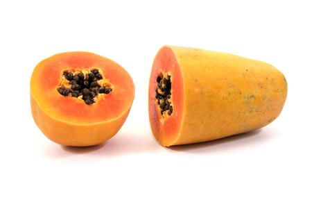cranny: Papaya isolated on white background.Ripe papaya isolated.Yellow papaya isolated.Fresh papaya isolated.Papaya with seeds isolated