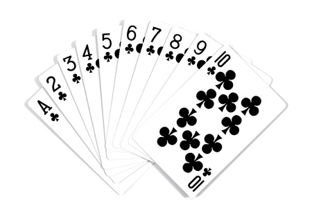 different playing cards.Playing cards isolated on white background Stock Photo