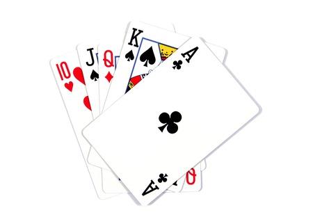 Speelkaarten - geïsoleerd op een witte achtergrond. Royal Flush. Speelkaarten op een witte achtergrond worden geïsoleerd die