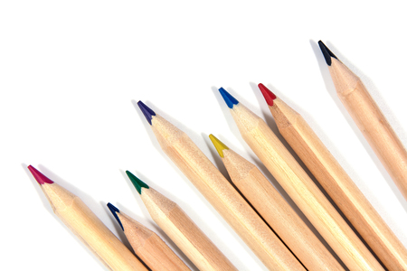 color pencils isolated on white. natural color.Beautiful natural color pencils isolated
