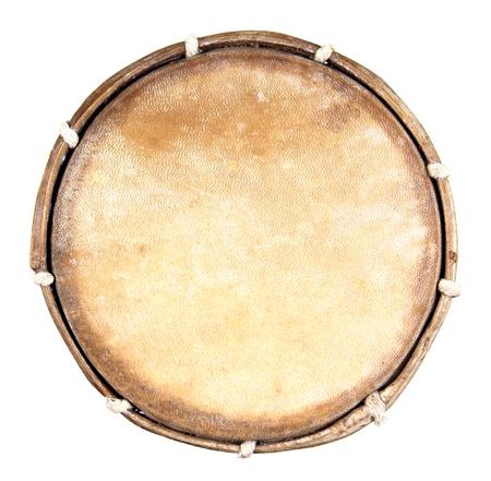 Vue de dessus du tambour en cuir isolé sur fond blanc. Tambour isolé Banque d'images - 65860786