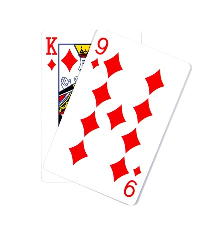 Two cards isolated on white.K and 9 playing cards in diamond isolated