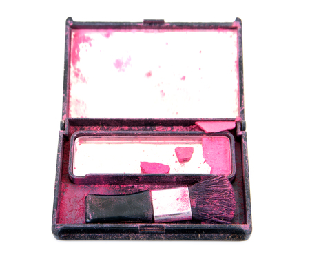 powder puff: old and dirty pressed powders and powder puff.Old pink face powder puff isolated Stock Photo