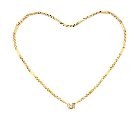 Jewelry golden chain of heart shape isolated on white background