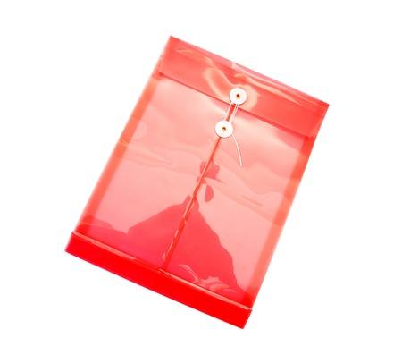 Transparent plastic envelope isolated on white.Plastic file folder isolated